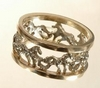 white gold galloping horse wedding rings