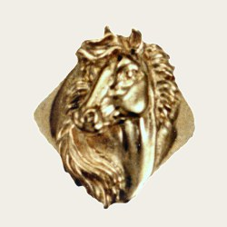 longer beautifully detailed horse head ring